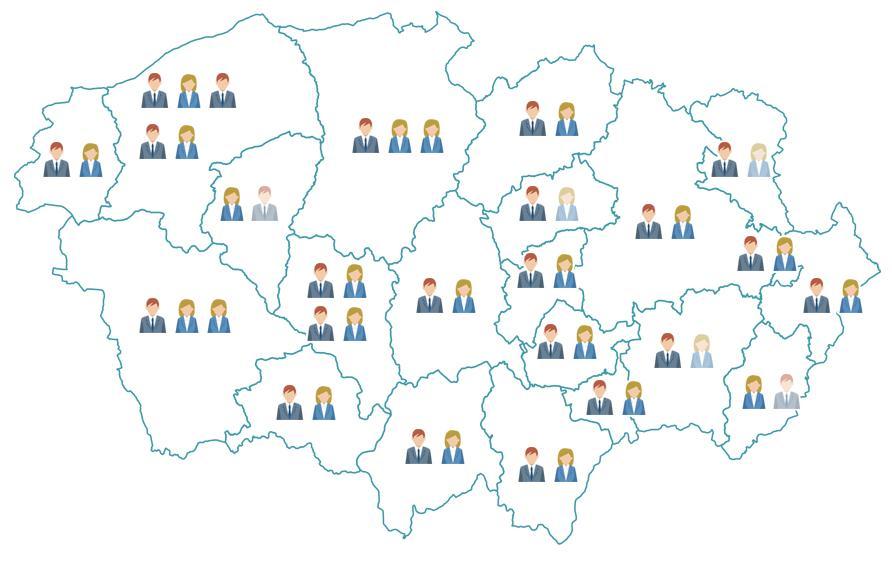 La répartition des élu(e)s par communes