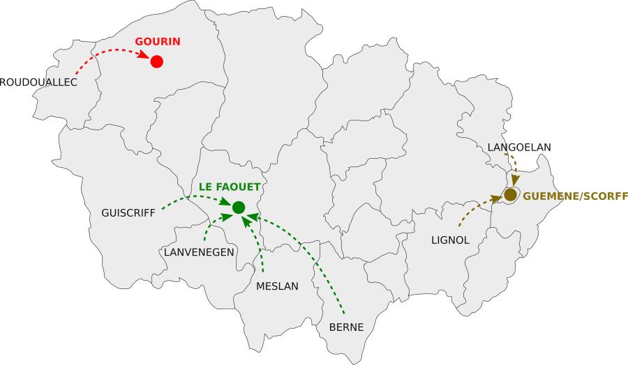 Les circuits vers les marchés de Guémené/Scorff, Gourin et Le Faouët